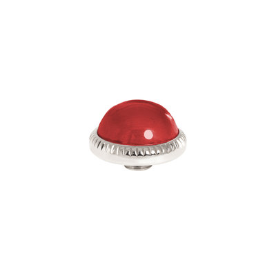 Melano Vivid Meddy Ball 12mm Zilverkleurig Zirkonia Ruby Red