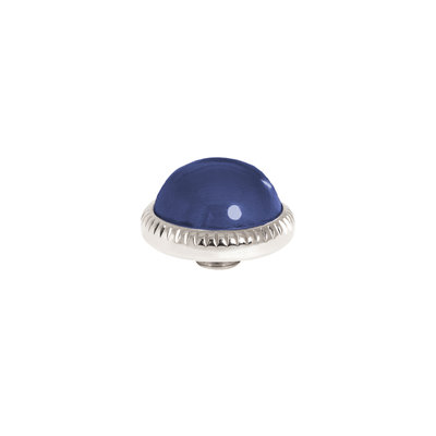 Melano Vivid Meddy Ball 12mm Zilverkleurig Zirkonia Navy Blue