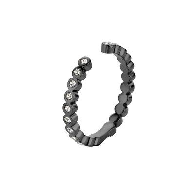 Melano Twisted Ring Tina Edelstaal Zwart Zirkonia Crystal