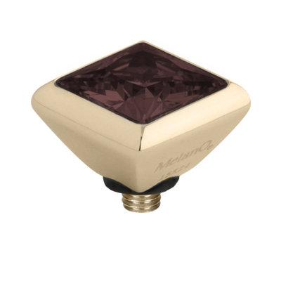 Melano Twisted Square Zirconia Meddy 6mm Edelstaal Goudkleurig Coffee