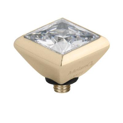 Melano Twisted Square Zirconia Meddy 6mm Edelstaal Goudkleurig Crystal