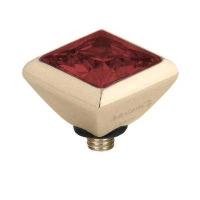 Melano Twisted Square Zirconia Meddy 6mm Edelstaal Goudkleurig Dark Red
