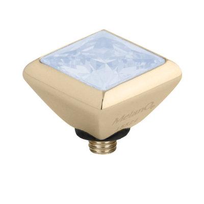 Melano Twisted Square Zirconia Meddy 6mm Edelstaal Goudkleurig Moonstone