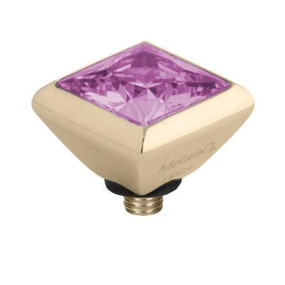 Melano Twisted Square Zirconia Meddy 6mm Edelstaal Goudkleurig Pink