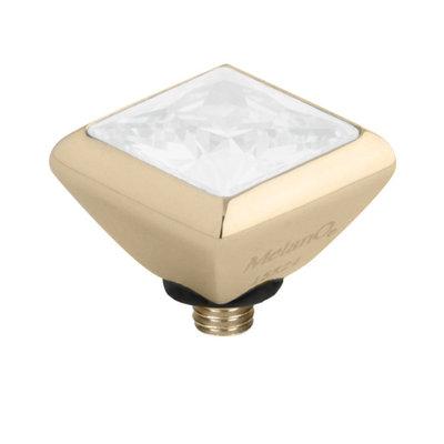Melano Twisted Square Zirconia Meddy 6mm Edelstaal Goudkleurig White