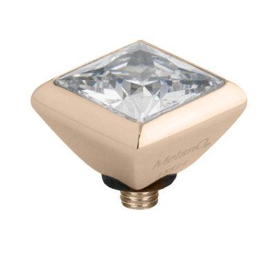 Melano Twisted Square Zirconia Meddy 6mm Edelstaal Rose Goudkleurig Crystal