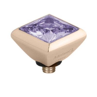 Melano Twisted Square Zirconia Meddy 6mm Edelstaal Rose Goudkleurig Lavendel