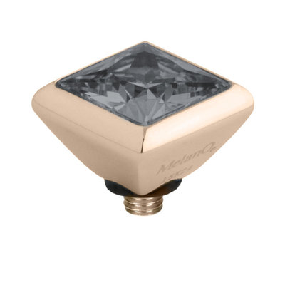 Melano Twisted Square Zirconia Meddy 6mm Edelstaal Rose Goudkleurig Transparant Black