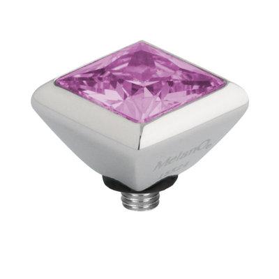 Melano Twisted Square Zirconia Meddy 6mm Edelstaal Zilverkleurig Pink