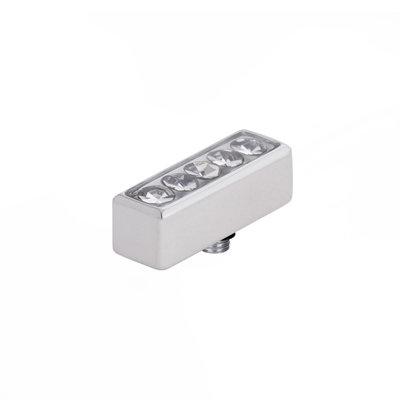 Melano Twisted Meddy Edelstaal Zilverkleurig Bar Zirkonia Crystal 12mm