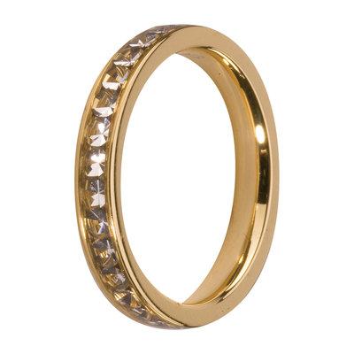 Melano Friends Side Ring Goudkleurig, Zirkonia Stones Crystal