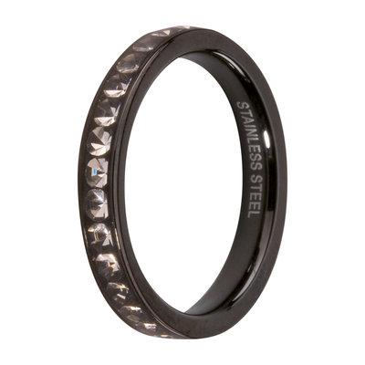 Melano Friends Side Ring Black, Zirkonia Stones Crystal