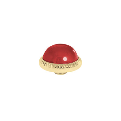 Melano Vivid Meddy Ball 12mm Goudkleurig Zirkonia Ruby Red