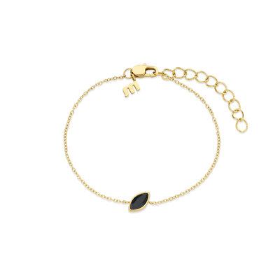 Melano Friends Armband Mini Marquise Goudkleurig Swarovski Black