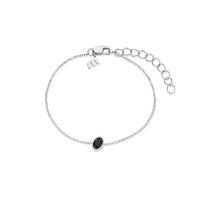 Melano Friends Armband Mini Oval Zilverkleurig Swarovski Black