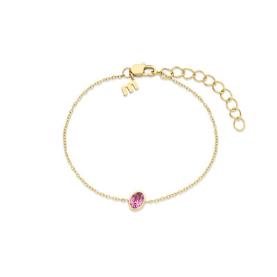 Melano Friends Armband Mini Oval Goudkleurig Swarovski Rose