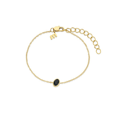 Melano Friends Armband Mini Oval Goudkleurig Swarovski Black