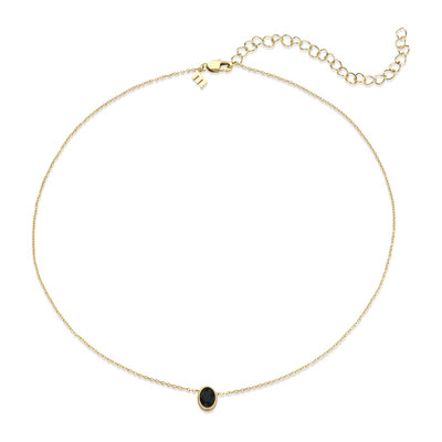 Melano Friends Ketting Oval Goudkleurig Swarovski Black