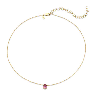 Melano Friends Ketting Oval Goudkleurig Swarovski Rose