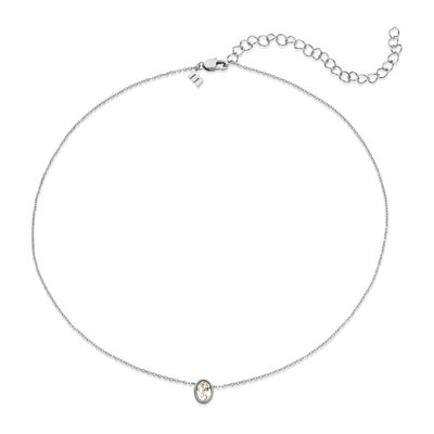 Melano Friends Ketting Oval Zilverkleurig Swarovski Crystal