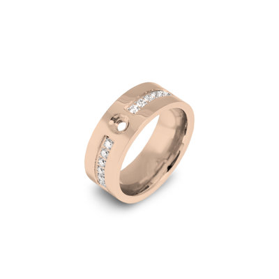 Melano Flat Twisted Zirkonia Ring 8mm Rose Goudkleurig