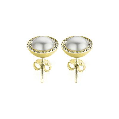 Melano Friends Swarovski® Pearl and CZ earrings Gold Coloured