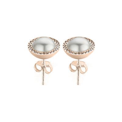 Melano Friends Swarovski® Pearl and CZ earrings Rose Gold Coloured