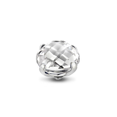 Melano Twisted Facet Bold steentje zilverkleurig - Crystal 10mm