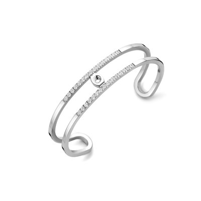 Melano Twisted Trixie CZ bangle zilverkleurig
