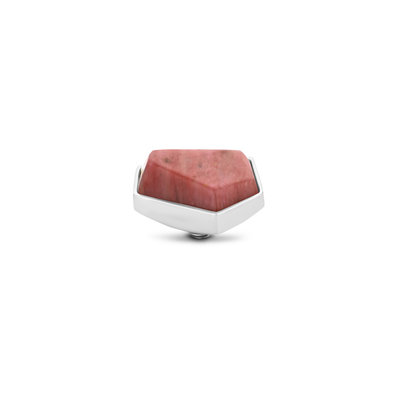 Melano Twisted Geo Gemstone Small steentje zilverkleurig - Rhodonite
