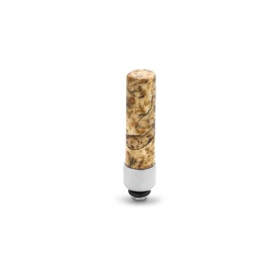 Melano Twisted Gemstone Cilinder steentje zilverkleurig - Picture Jasper