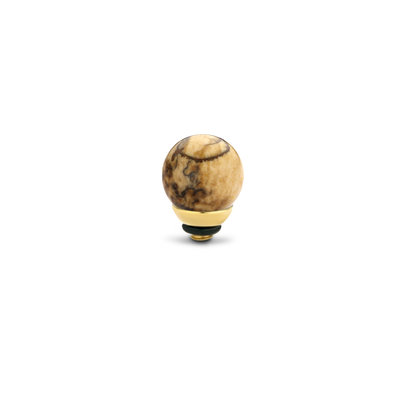 Melano Twisted Gem Ball steentje goudkleurig - Picture Jasper