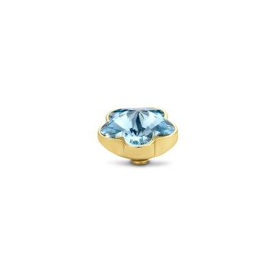 Melano Twisted Flower steentje goudkleurig  - Aquamarine