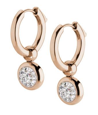 MelanO Gina Oorbelhangers Edelstaal Rose Goud Zirkonia Crystal incl Creolen.