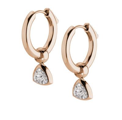 MelanO Kim Oorbelhangers Edelstaal Rose Goud Zirkonia Crystal incl Creolen.