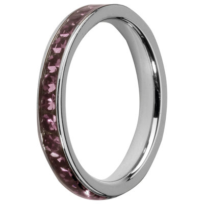 MelanO Steel Side Ring, Zirkonia Stones Amethyst