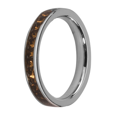 MelanO Steel Side Ring, Zirkonia Stones Coffee