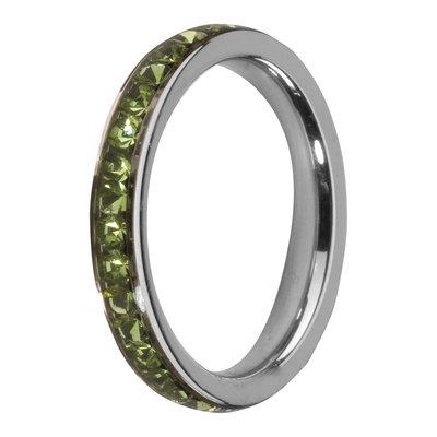 MelanO Steel Side Ring, Zirkonia Stones Peridot
