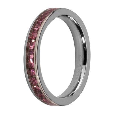 MelanO Steel Side Ring, Zirkonia Stones Rose