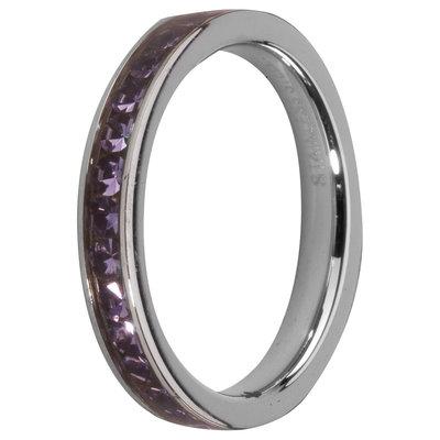 MelanO Steel Side Ring, Zirkonia Stones Tanzanite