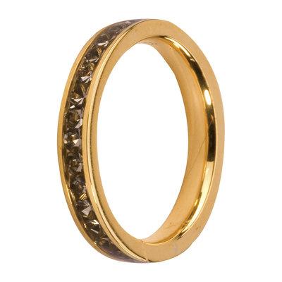 MelanO Steel Side Ring Goldplated, Zirkonia Stones Black Diamond