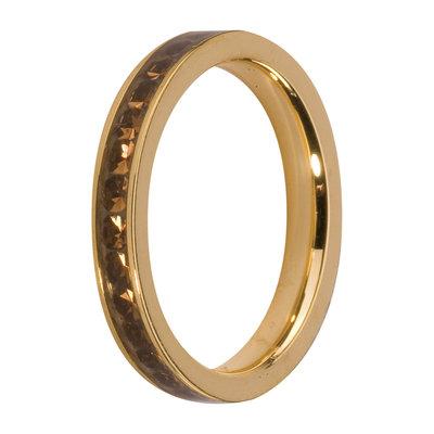 MelanO Steel Side Ring Goldplated, Zirkonia Stones Coffee
