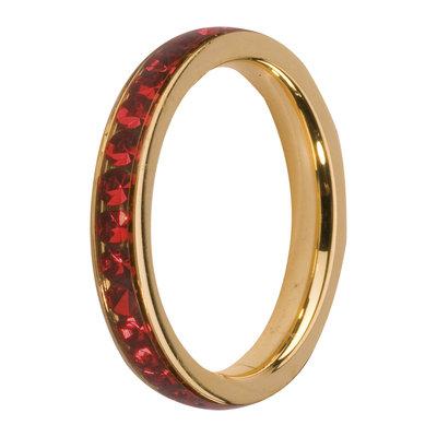 MelanO Steel Side Ring Goldplated, Zirkonia Stones Light Siam