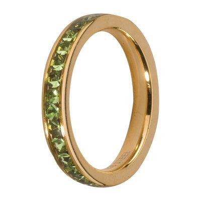 MelanO Steel Side Ring Goldplated, Zirkonia Stones Peridot