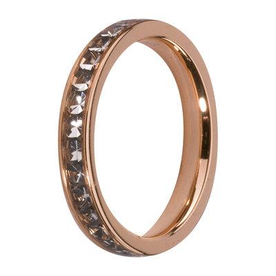 MelanO Steel Side Ring Rose Goldplated, Zirkonia Stones Black Diamond