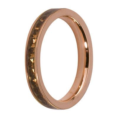 MelanO Steel Side Ring Rose Goldplated, Zirkonia Stones Coffee
