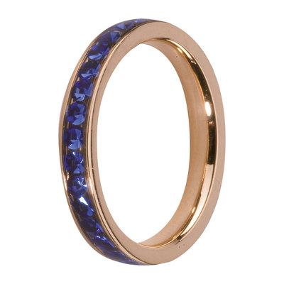 MelanO Steel Side Ring Rose Goldplated, Zirkonia Stones Blue