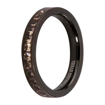 MelanO Steel Side Ring Black, Zirkonia Stones Black Diamond