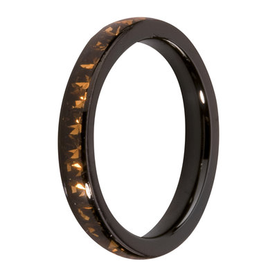 MelanO Steel Side Ring Black, Zirkonia Stones Coffee