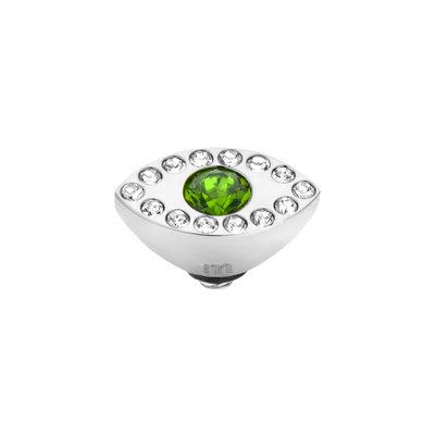 Melano Twisted Eye Meddy Edelstaal Zilverkleurig Zirkonia Emerald Green